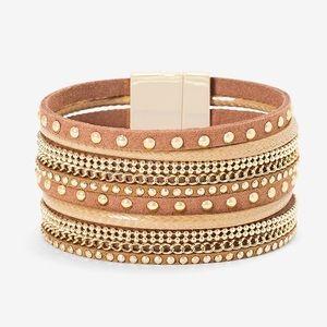 WHBM Gold Studded Leather Bracelet NWT